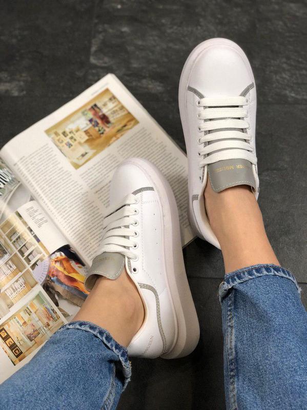 Шикарные женские кроссовки alexnder mcqueen white reflective 😍... - Фото 5
