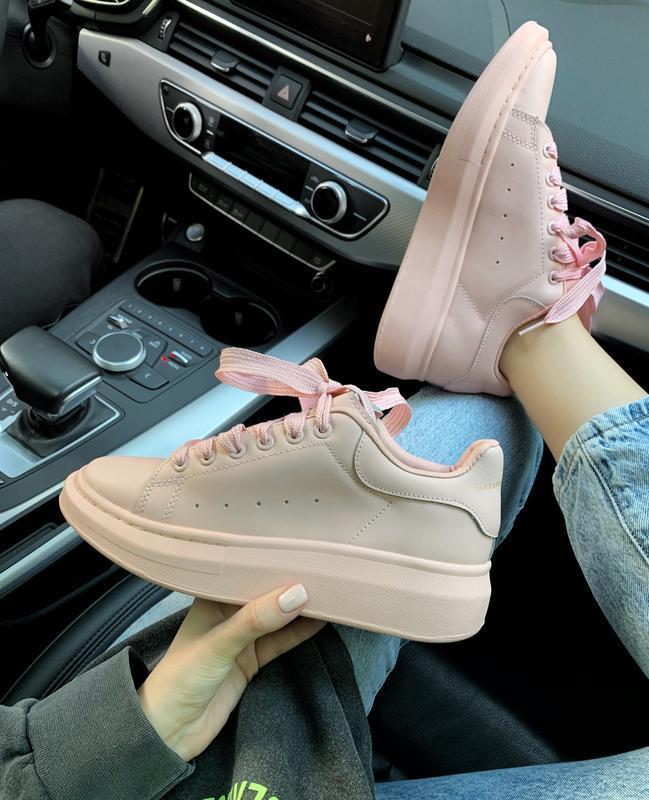 Шикарные женские кроссовки alexander mcqueen pink  😍 (весна/ л...