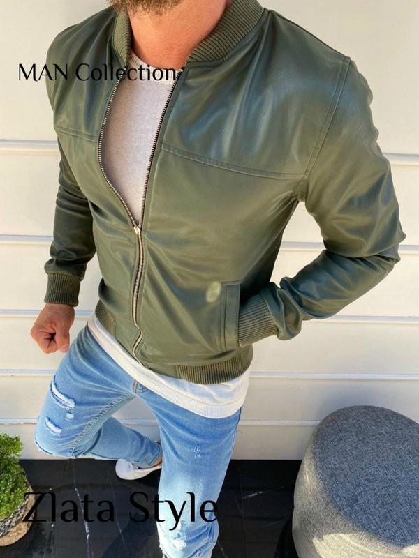 Куртка кожанка мужская весна - Фото 4