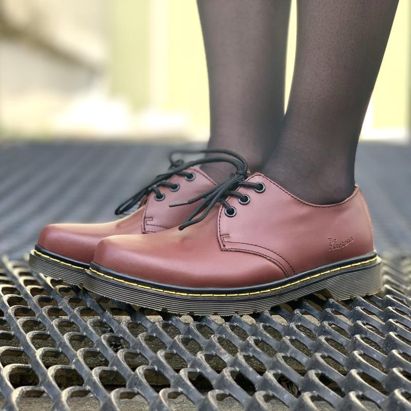 Шикарные кожаные туфли dr. martens 1461 cherry (унисекс) 😍 - Фото 3