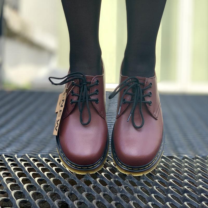 Шикарные кожаные туфли dr. martens 1461 cherry (унисекс) 😍 - Фото 5