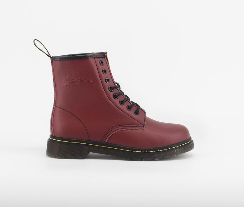 Шикарные зимние ботинки dr. martens 1460 cherry с мехом  😍 (ун...