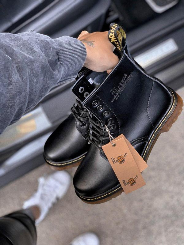 Шикарные осенние кожаные ботинки dr. martens 1460 full black у...
