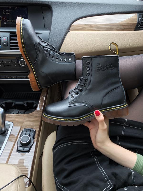 Шикарные зимние чёрные ботинки dr. martens 1460 fur black wint...