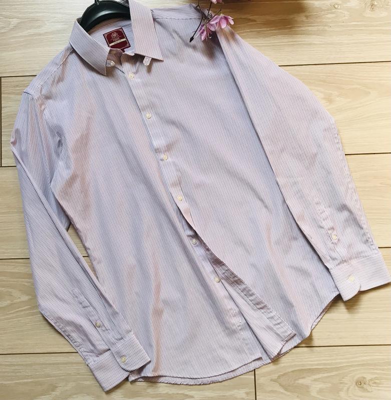 Мужская рубашка в полоску с длинным рукавом размер м