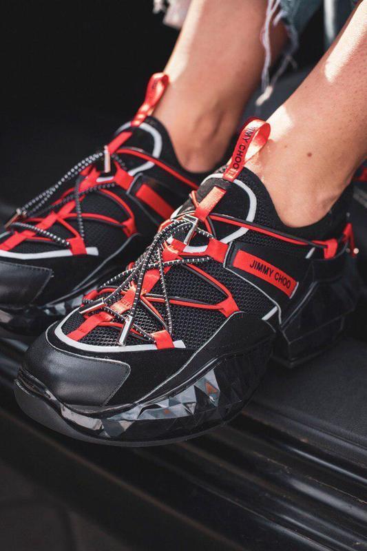 Шикарные женские кроссовки jimmy choo black/ red 😍 (весна/ лет...