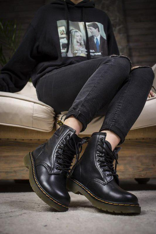 Шикарные кожаные ботинки/ сапоги dr. martens 1460 black унисек... - Фото 2