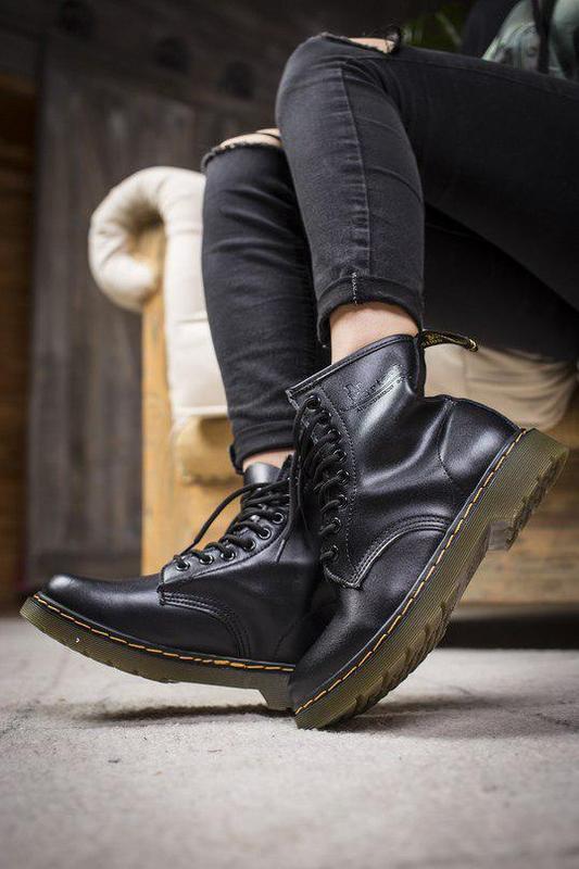Шикарные кожаные ботинки/ сапоги dr. martens 1460 black унисек... - Фото 3