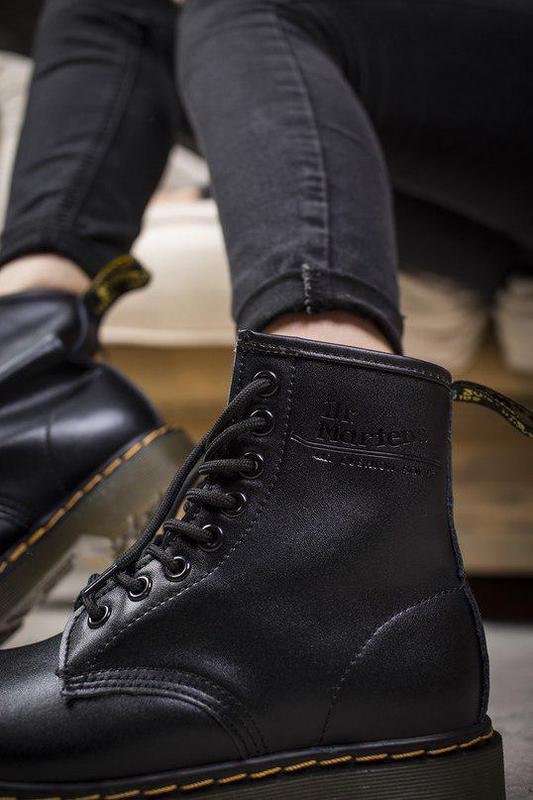 Шикарные кожаные ботинки/ сапоги dr. martens 1460 black унисек... - Фото 4