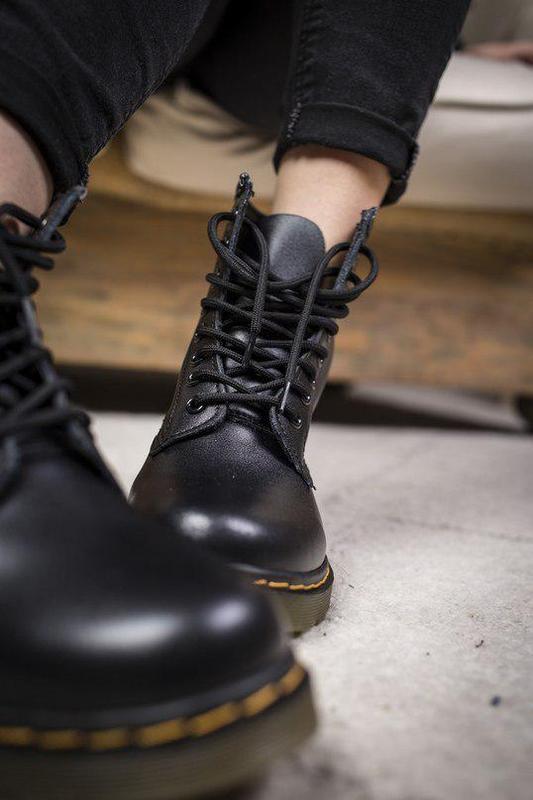 Шикарные кожаные ботинки/ сапоги dr. martens 1460 black унисек... - Фото 5