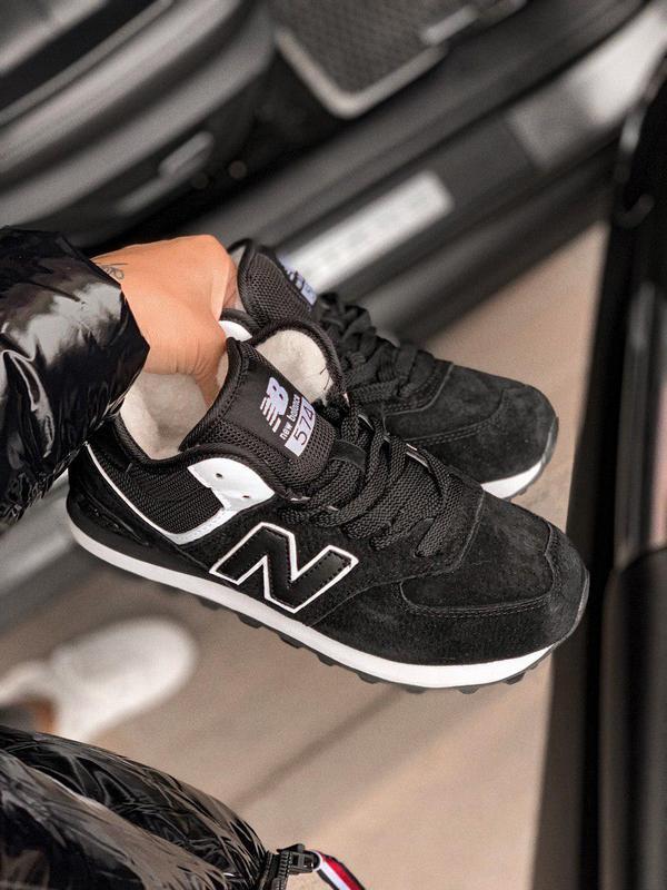 Шикарные женские зимние кроссовки new balance 574 black fur с ... - Фото 3