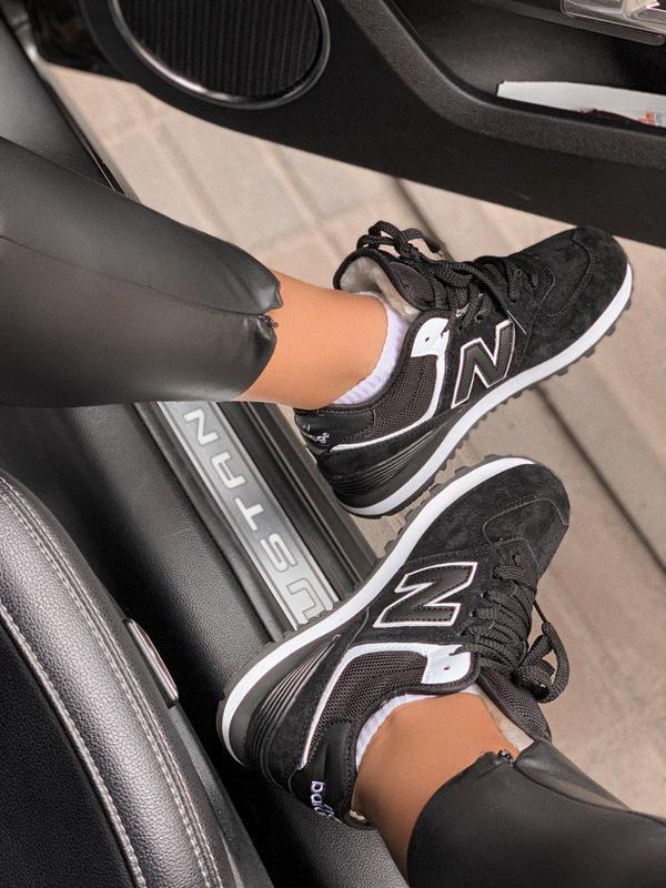Шикарные женские зимние кроссовки new balance 574 black fur с ... - Фото 4