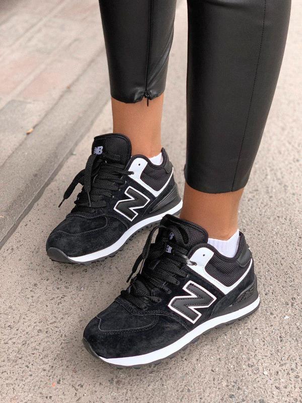 Шикарные женские зимние кроссовки new balance 574 black fur с ... - Фото 6