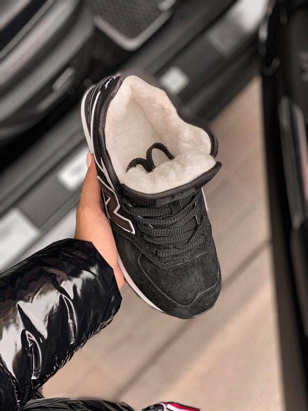 Шикарные женские зимние кроссовки new balance 574 black fur с ... - Фото 7