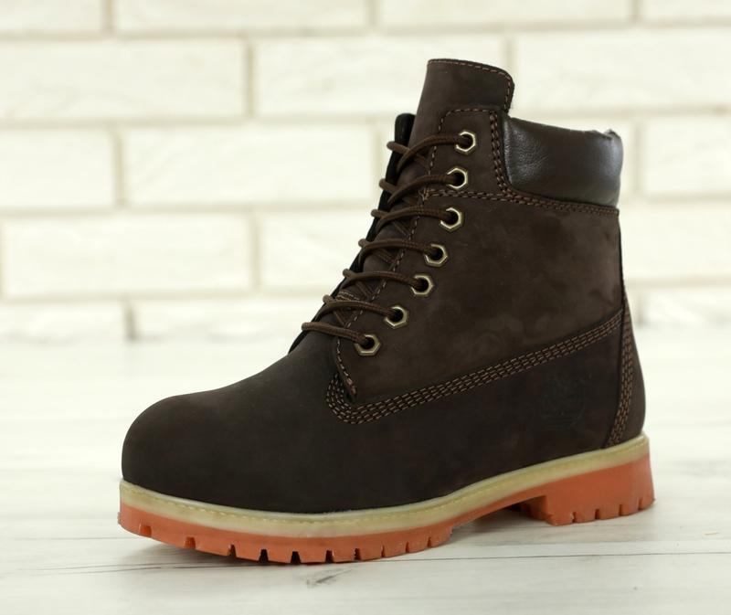 Шикарные зимние женские ботинки/ сапоги timberland brown fur 😍... - Фото 4