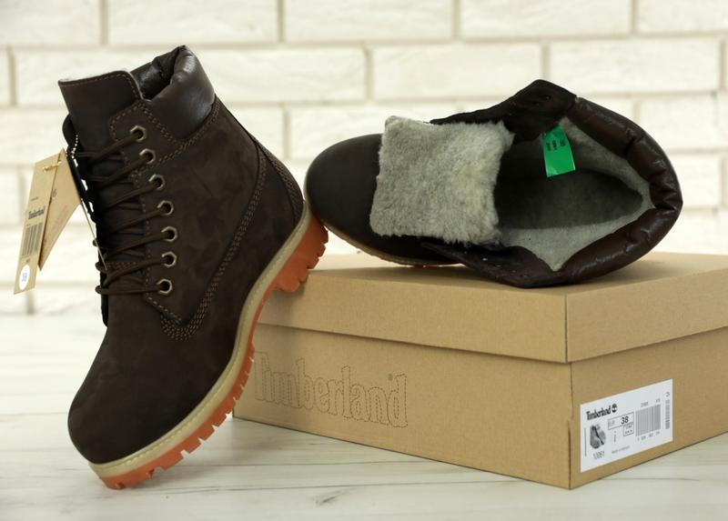 Шикарные зимние женские ботинки/ сапоги timberland brown fur 😍... - Фото 8
