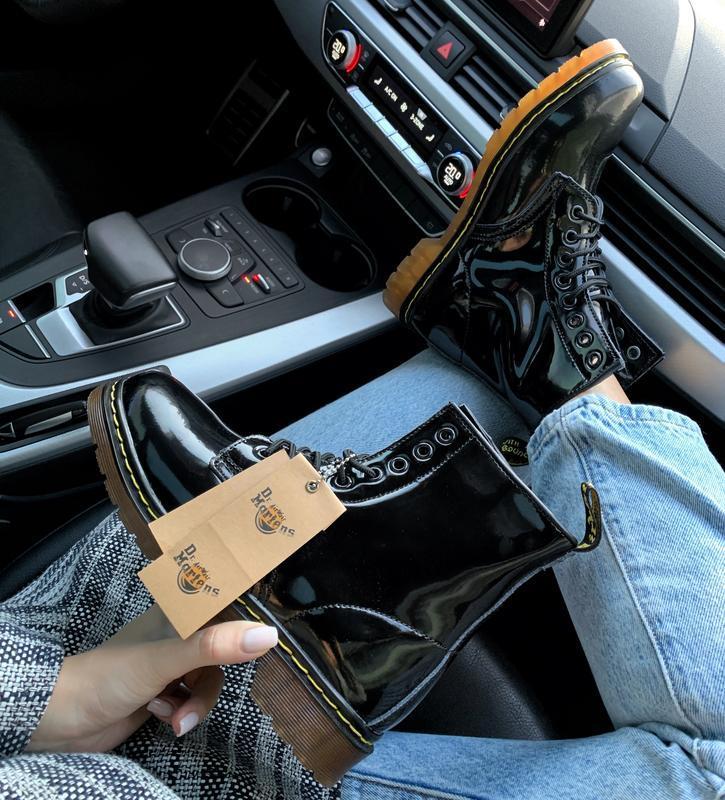 Кожаные зимние женские ботинки/ сапоги dr. martens 1460 patent... - Фото 2