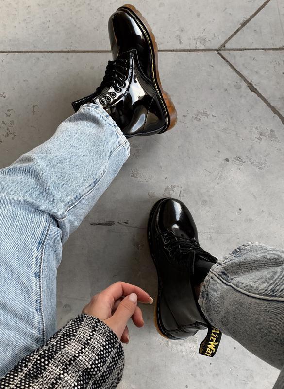 Кожаные зимние женские ботинки/ сапоги dr. martens 1460 patent... - Фото 3