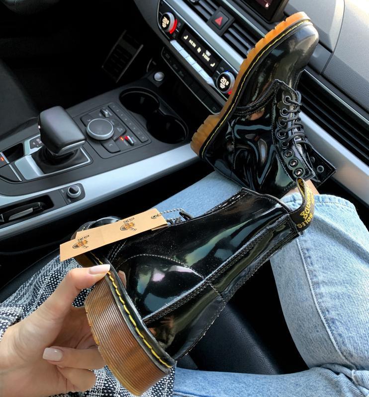 Кожаные зимние женские ботинки/ сапоги dr. martens 1460 patent... - Фото 4