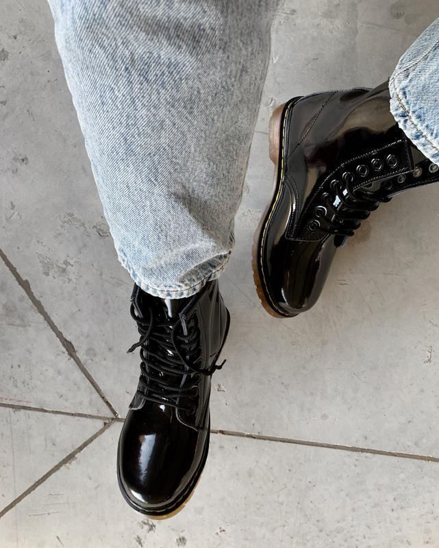 Кожаные зимние женские ботинки/ сапоги dr. martens 1460 patent... - Фото 6