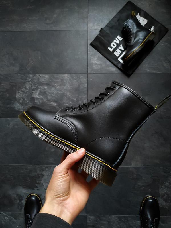 Шикарные кожаные ботинки/ сапоги dr. martens 1460 black унисек... - Фото 6