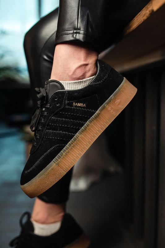 Шикарные женские замшевые кроссовки adidas samba black 😍 (весн...