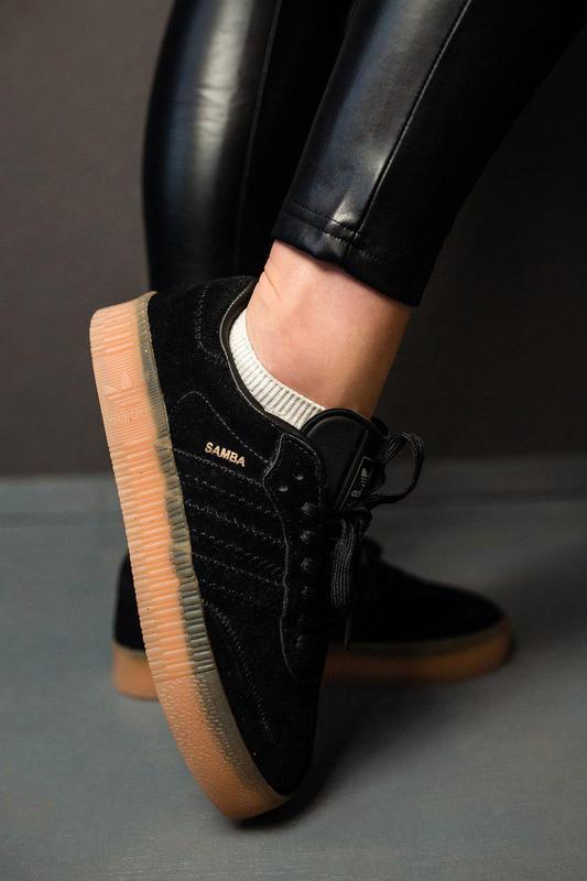 Шикарные женские замшевые кроссовки adidas samba black 😍 (весн... - Фото 3