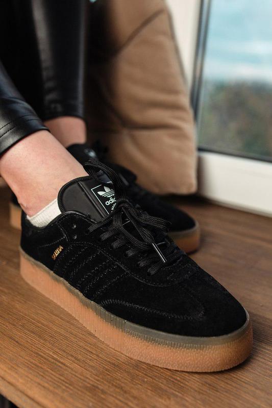 Шикарные женские замшевые кроссовки adidas samba black 😍 (весн... - Фото 4