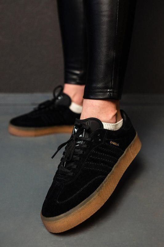 Шикарные женские замшевые кроссовки adidas samba black 😍 (весн... - Фото 6