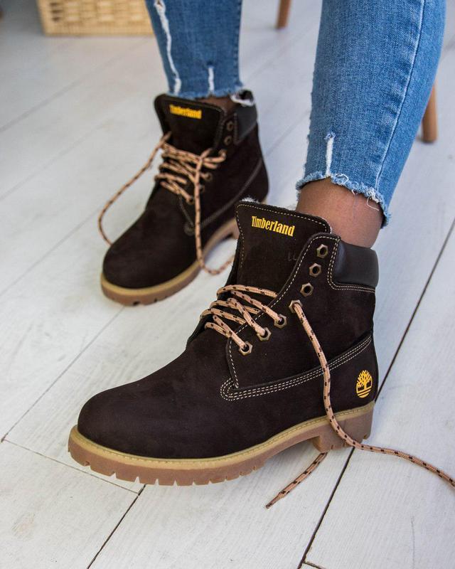 Шикарные женские зимние ботинки timberland brown 😍 (с мехом)