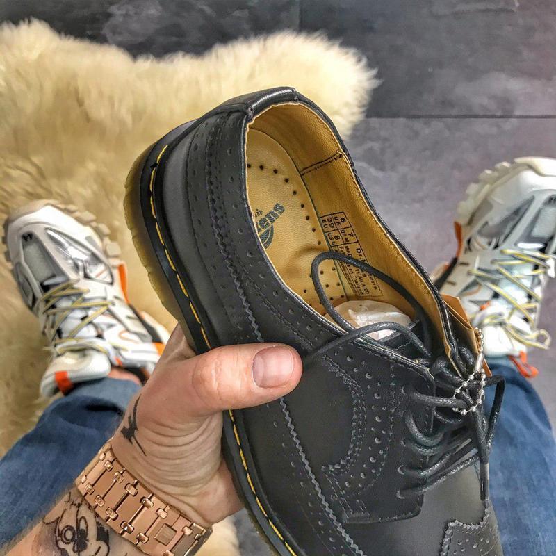 Шикарные кожаные туфли/ броги dr. martens 1461 white (унисекс) 😍 - Фото 3