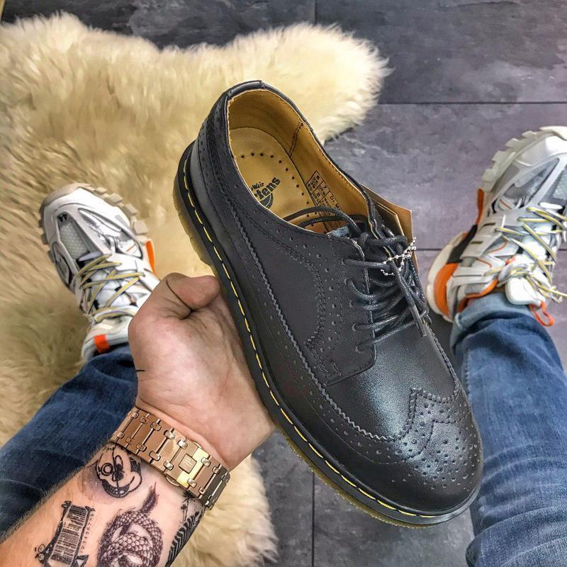 Шикарные кожаные туфли/ броги dr. martens 1461 white (унисекс) 😍 - Фото 4