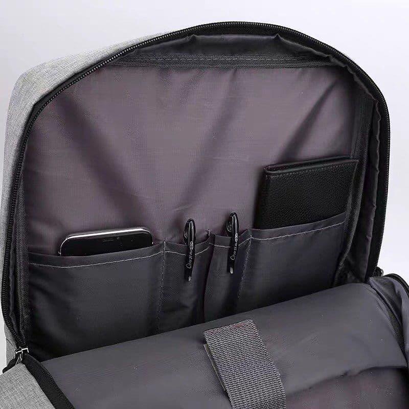 Городской мужской рюкзак в дорогу под ноубук документы серый - Фото 3