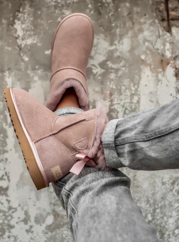 Ugg classic mini pink! женские замшевые зимние угги/ сапоги/ б... - Фото 3