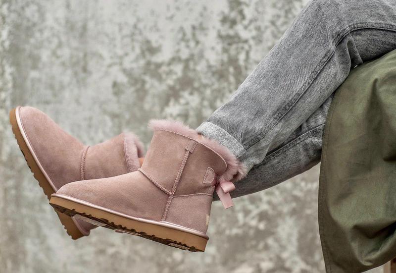 Ugg classic mini pink! женские замшевые зимние угги/ сапоги/ б... - Фото 4