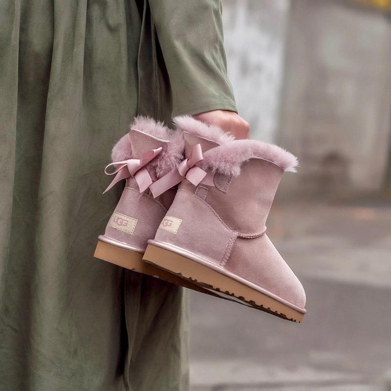 Ugg classic mini pink! женские замшевые зимние угги/ сапоги/ б... - Фото 5