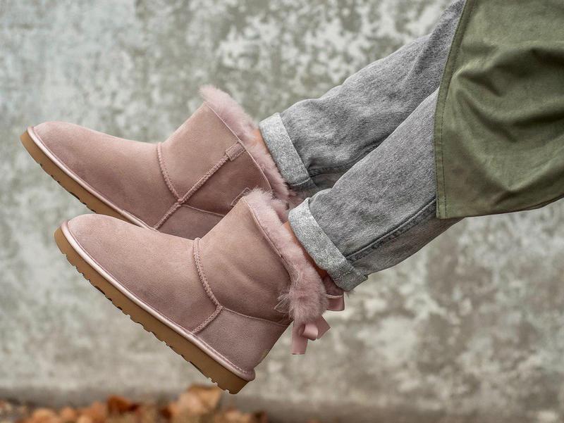 Ugg classic mini pink! женские замшевые зимние угги/ сапоги/ б... - Фото 6