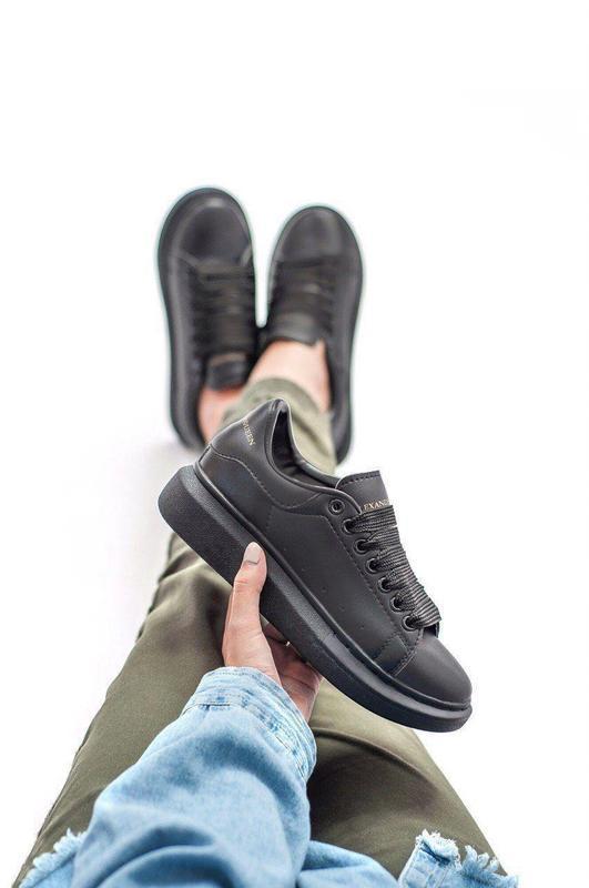 Шикарные женские кожаные кроссовки alexander mcqueen black 😍 (... - Фото 3