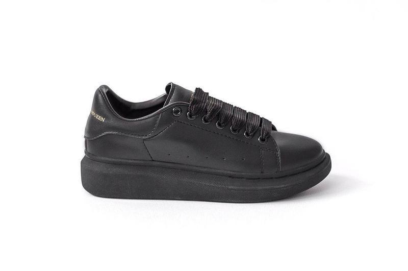 Шикарные женские кожаные кроссовки alexander mcqueen black 😍 (... - Фото 4
