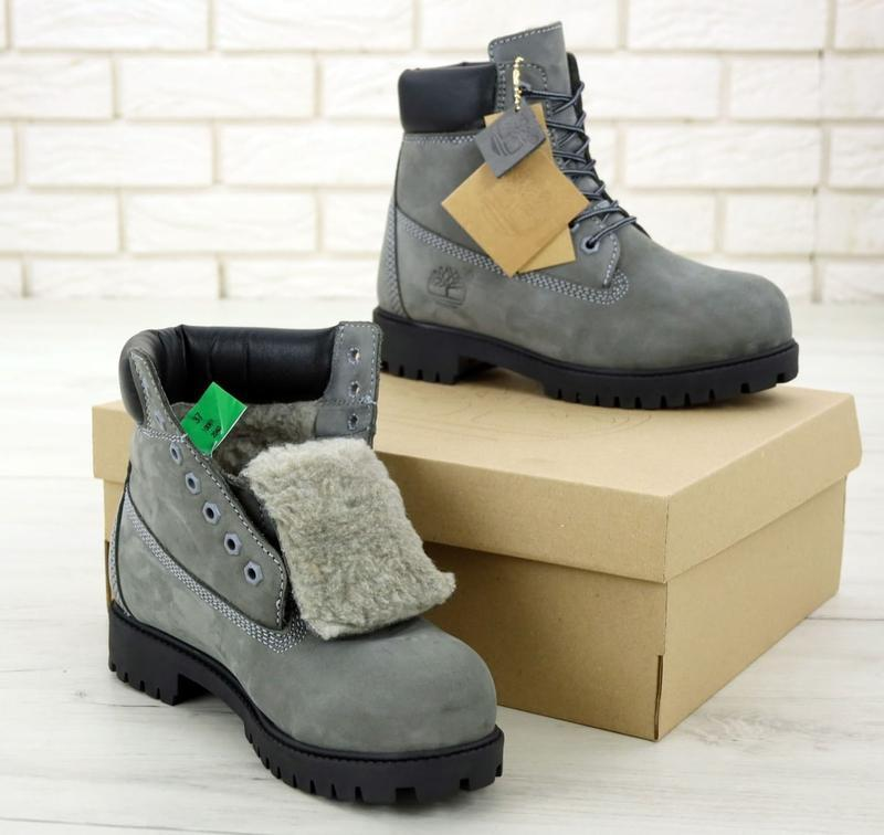 Шикарные зимние ботинки timberland gray fur унисекс 😍 (зима/ с... - Фото 3