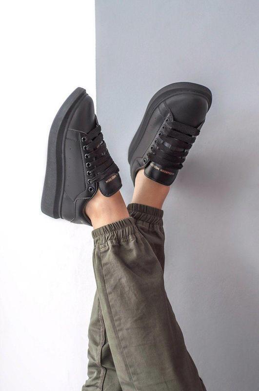 Шикарные женские кожаные кроссовки alexander mcqueen black 😍 (... - Фото 5
