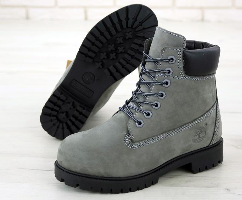 Шикарные зимние ботинки timberland gray fur унисекс 😍 (зима/ с... - Фото 5