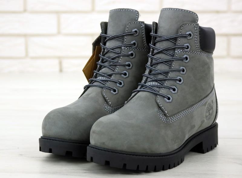 Шикарные зимние ботинки timberland gray fur унисекс 😍 (зима/ с... - Фото 6