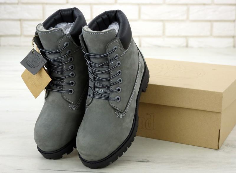 Шикарные зимние ботинки timberland gray fur унисекс 😍 (зима/ с... - Фото 8