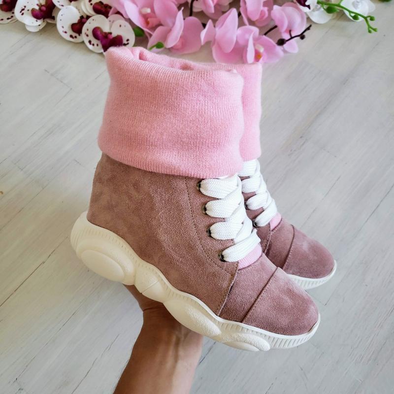 ❤женские пудровые замшевые зимние низкие ботинки кроссовки сни...