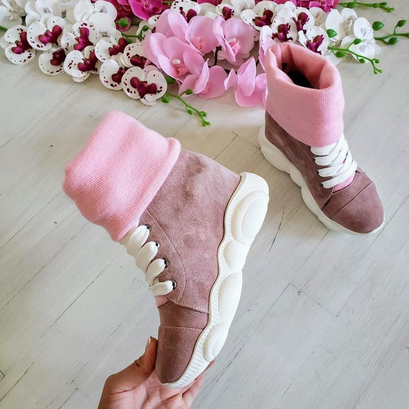 ❤женские пудровые замшевые зимние низкие ботинки кроссовки сни... - Фото 2