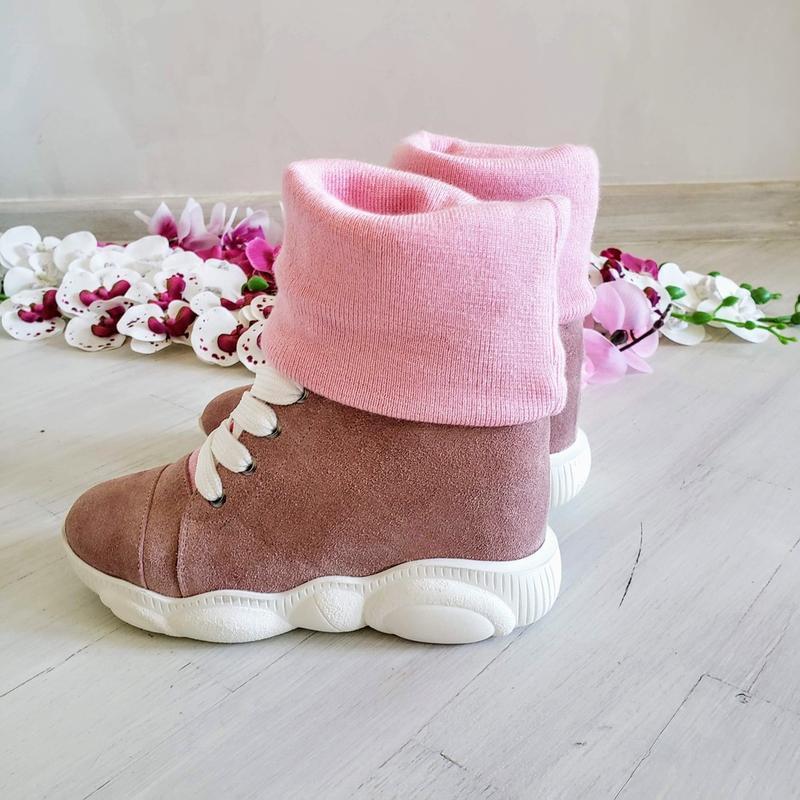 ❤женские пудровые замшевые зимние низкие ботинки кроссовки сни... - Фото 3