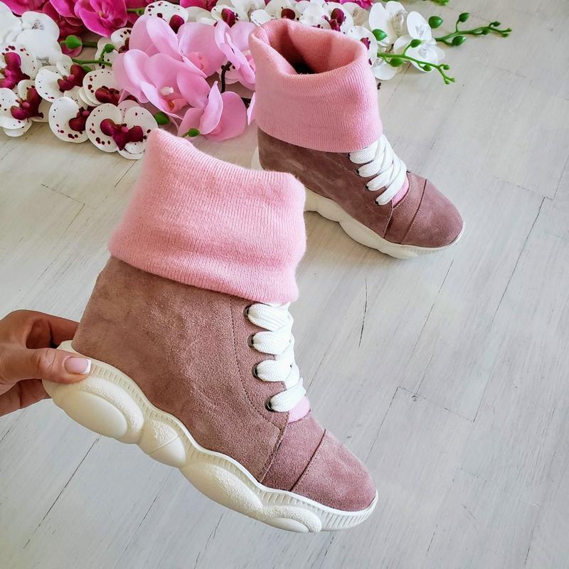 ❤женские пудровые замшевые зимние низкие ботинки кроссовки сни... - Фото 4