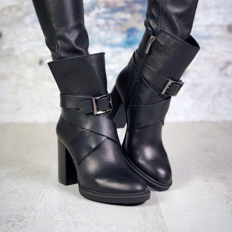 ❤невероятные женские черные кожаные демисезонные осенние ботин...