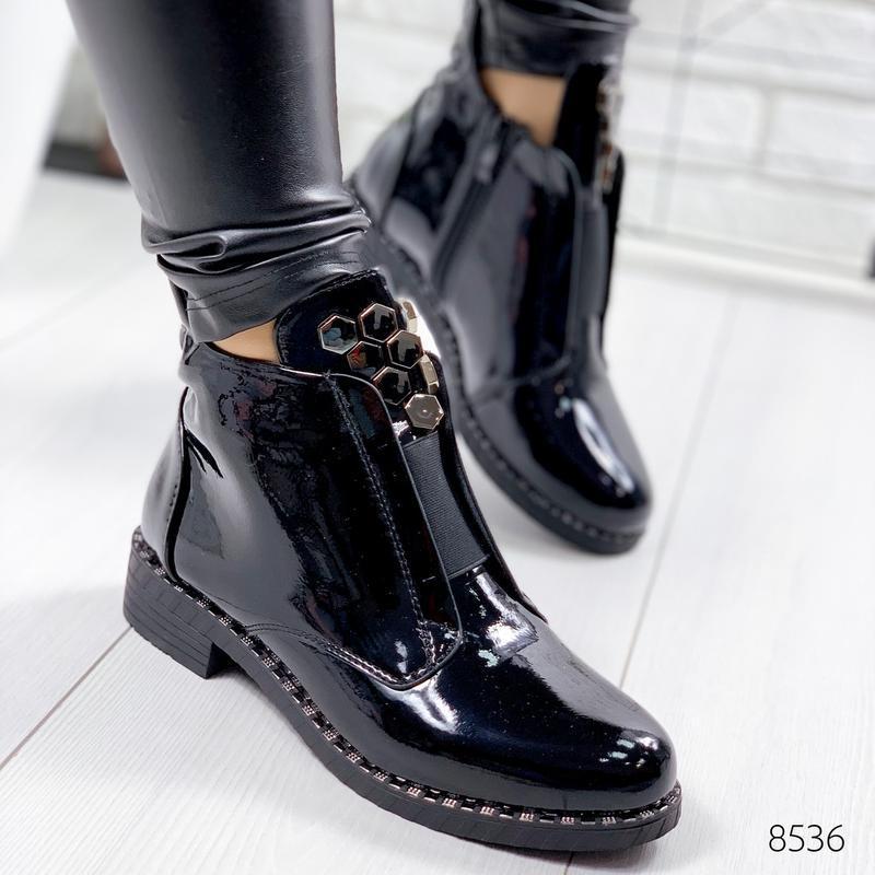 ❤невероятные женские черные демисезонные осенние ботинки ботил...